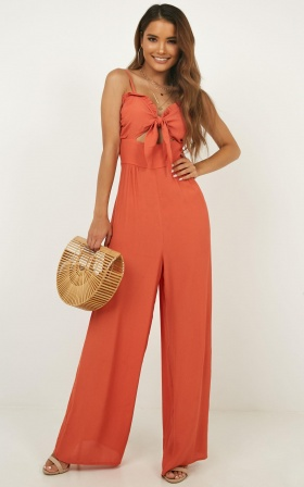 Lets Get Down Jumpsuit In Tangerine