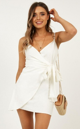 Letting Down Easy Dress In White Linen Look