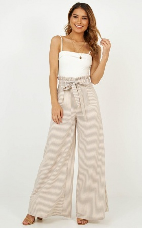 Music And Art Pants In Mocha Stripe