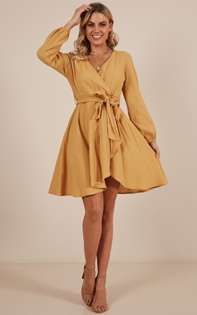 Make It Work dress in mustard