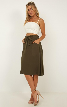 Out For The Night Skirt In Khaki Linen Look