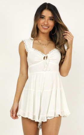 Pieces Of Us Playsuit In White