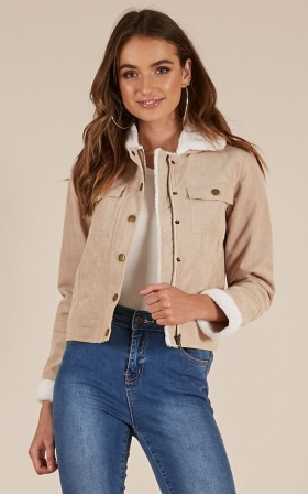 At First Glance Jacket In  Beige Cord