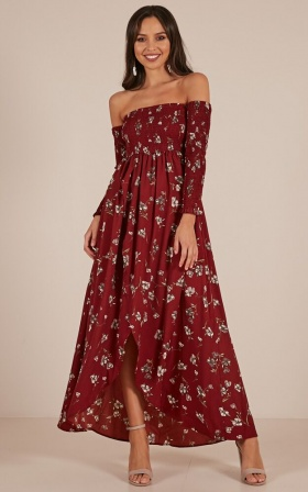 Never Late Dress In Wine Floral