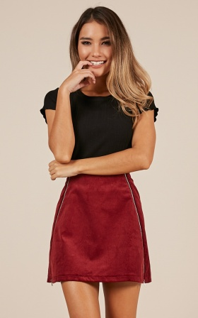 Stripe Down skirt in wine corduroy