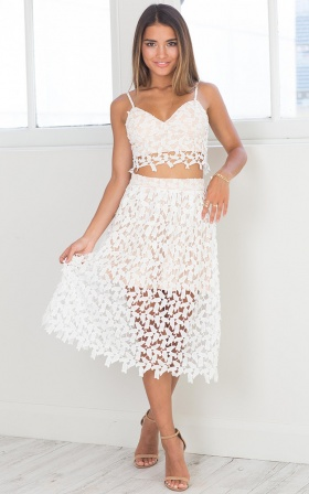 Sweet Intentions Two Piece Set in White Crochet