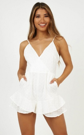 Spring Crush Playsuit In White Lace