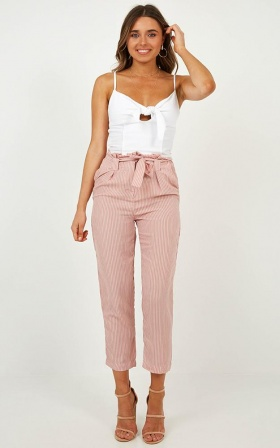 State Of Mind Pants In Blush Stripe