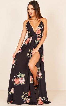 Shine Through maxi dress in black floral