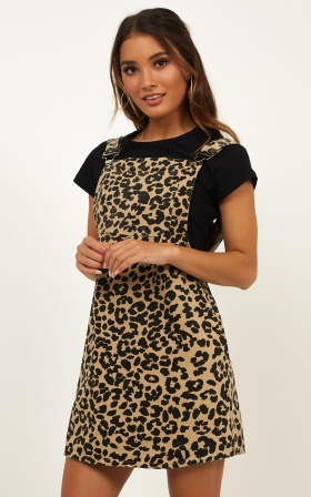 Time And Time Again Denim Dress In Leopard Print