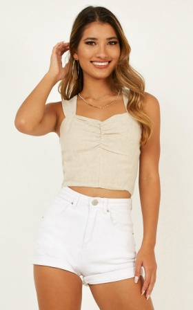 True Calling Top In Beige Linen Look