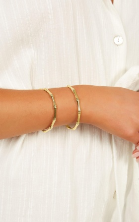 Want You There Bangle Set In Gold
