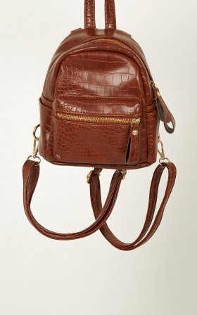 Abbee Backpack In Tan Croc