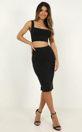 Beautiful Me Two Piece Set In Black