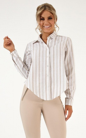 Bored  Room Tie Front Shirt In Beige Stripe
