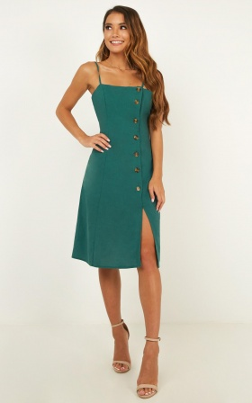 Bottling It Up Dress In Emerald Linen Look