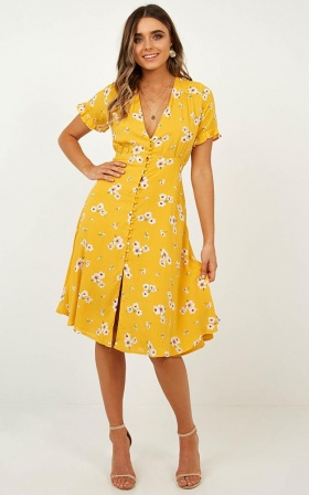 Call Me In Dress In Yellow Floral
