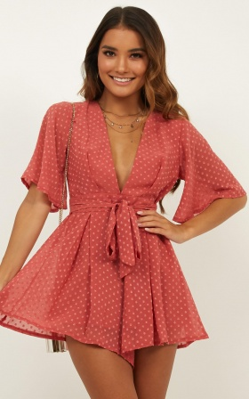 Chains Hit My Chest Playsuit In Rose Spot