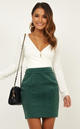 Chase The Sun Skirt In Emerald Cord