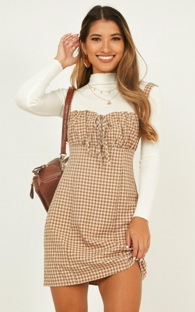 Core Ethics Dress In Mocha Plaid