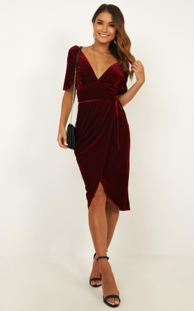 Dont Change Your Smile Dress In Wine Velvet