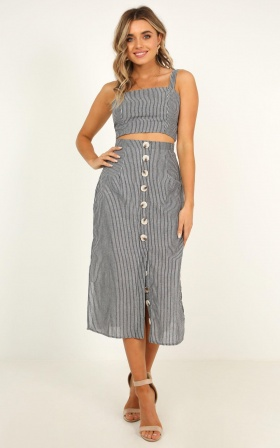 Drum Hits Two Piece Set In Grey Stripe