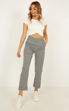 Eyes On The Road Pants In Black Gingham