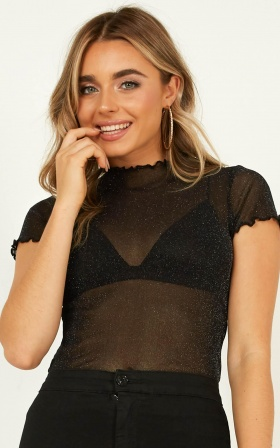 Galactic Disco Top In Black Lurex