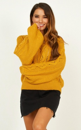 Head Up High Knit Jumper In Mustard