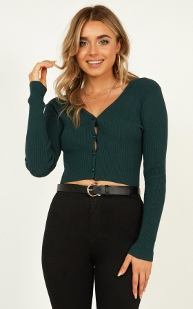 Lending  It Knitwear Top In Emerald