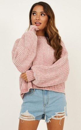 Little Do You Know Knit Sweater In Mauve Chenille