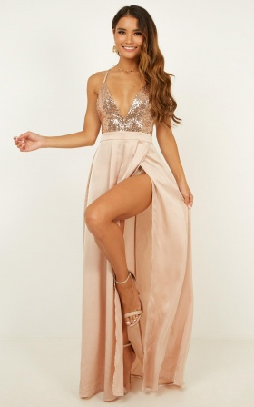 Looking Smart Maxi Dress In Rose Gold Sequin