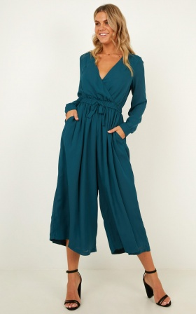 Losing Sleep Jumpsuit In Teal