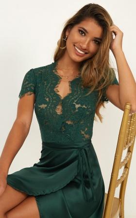 Love Grows Dress In Emerald Satin