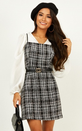 Millionaire Dress In Black Tweed