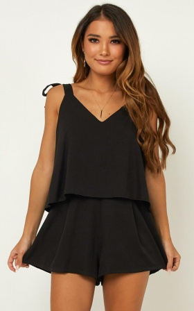Out Of Luck Playsuit In Black