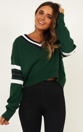 Rare Gem Knit Jumper In Green Stripe