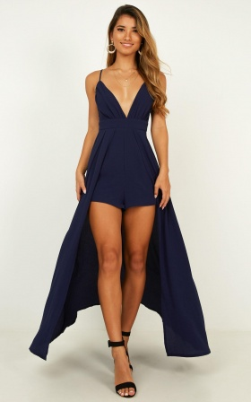 Return To Reality Maxi Playsuit In Navy