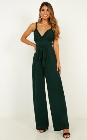 Rising To Fame Jumpsuit In Emerald