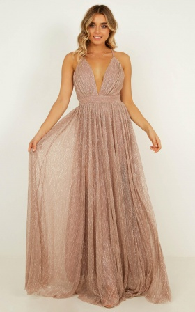 Simply Perfection Maxi Dress In Blush Lurex Mesh