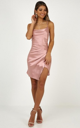 Sling Shot Dress In Blush Satin