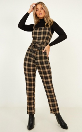 Street Song Jumpsuit In Black Check
