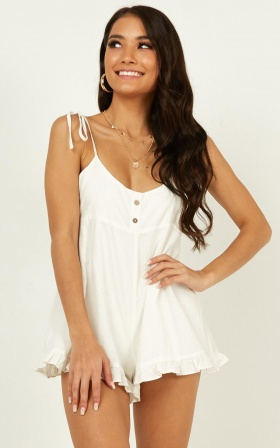 Summer On You Playsuit In White