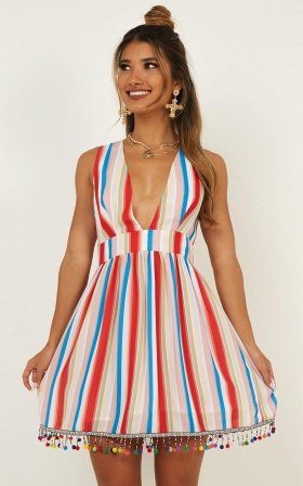afd116cf4e Surrender To The Night Dress In Rainbow Stripe ...