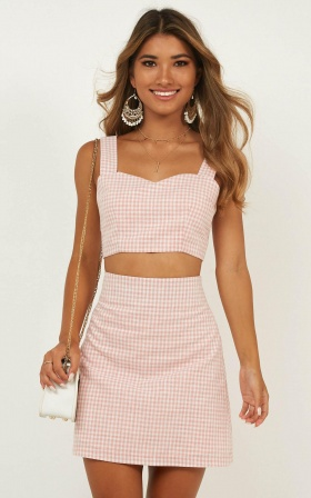 Teenage Love Two Piece Set In Blush Check