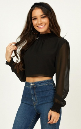 Tell Me The Truth Top In Black Chiffon