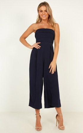 The Way You Laugh Jumpsuit In Navy