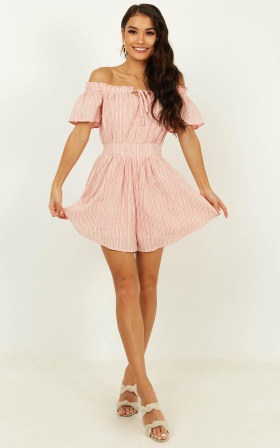 Through To You Playsuit In Blush Stripe