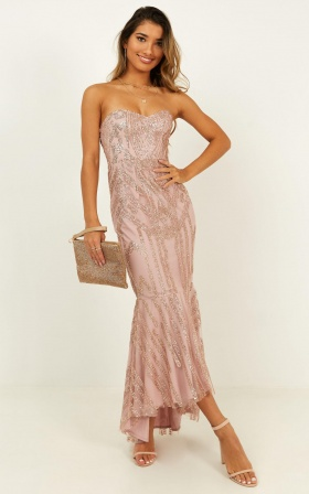 Trickle Through Maxi Dress In Blush Glitter
