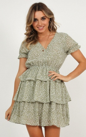 Triple Letter Dress In Green Spot